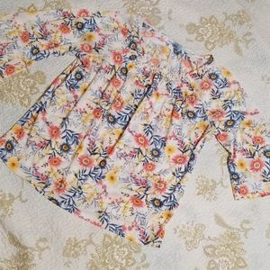 Indigo Rose Floral Blouse. Size large